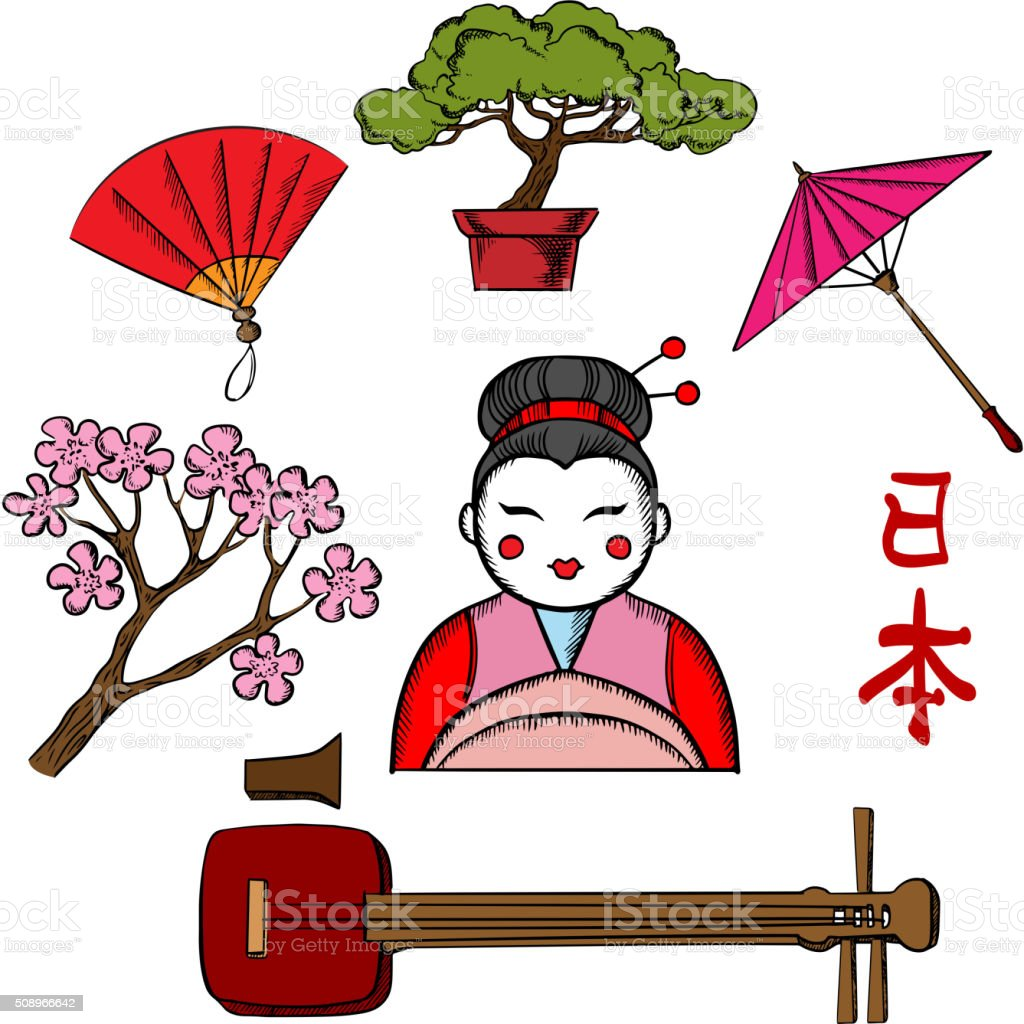 Japanese travel and culture concept with sakura blossom, fan, bonsai,...