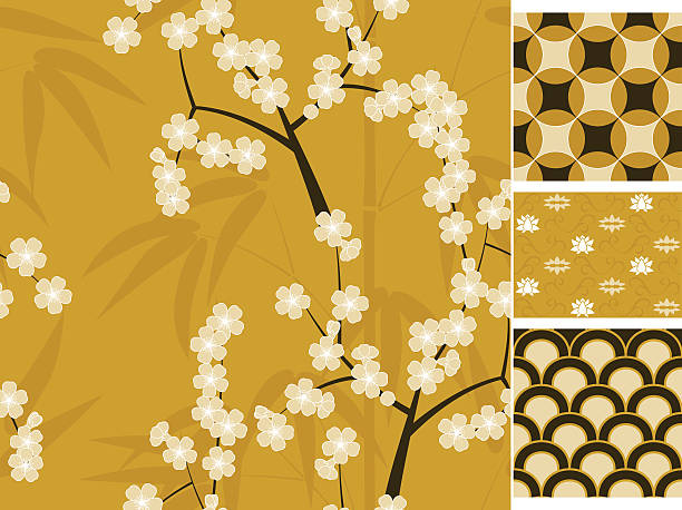 Japanese vector seamless patterns set with bamboo and sakura vector art illustration