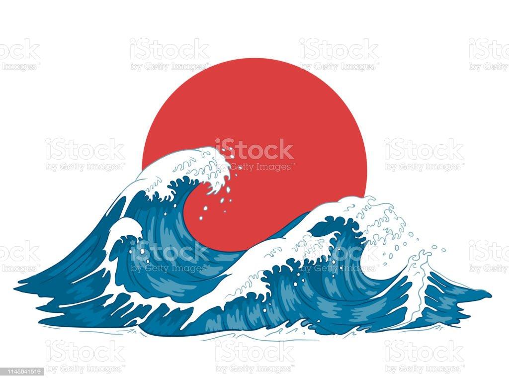 Japanese wave. Japanese big waves, raging ocean and vintage sea...