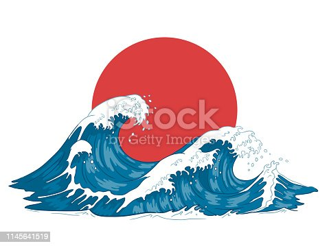 Japanese wave. Japanese big waves, raging ocean and vintage sea water. Japan ocean tsunami wave splash card, hokusai style marine storm splashing engraving vector illustration