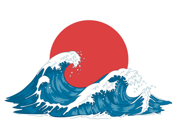 Japanese wave. Japanese big waves, raging ocean and vintage sea water vector illustration Japanese wave. Japanese big waves, raging ocean and vintage sea water. Japan ocean tsunami wave splash card, hokusai style marine storm splashing engraving vector illustration japanese culture stock illustrations