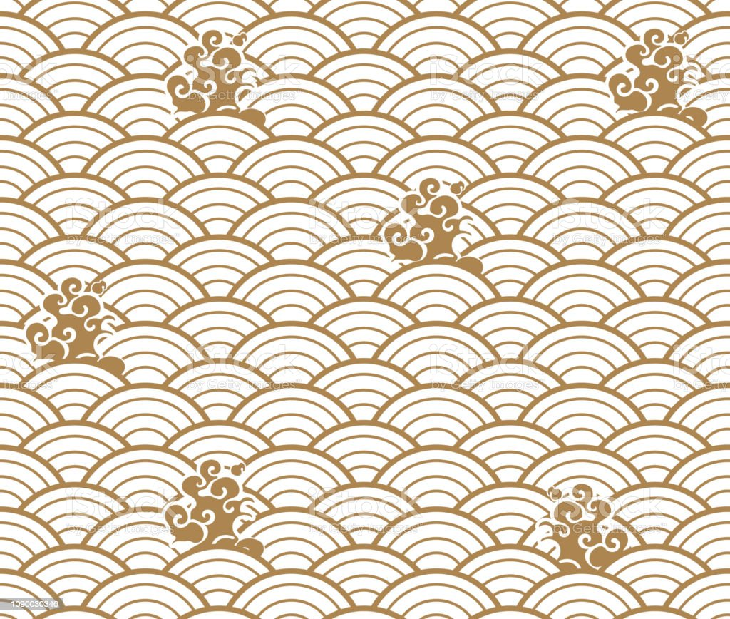Japanese Wave Pattern With Cloud Vector Gold Geometric