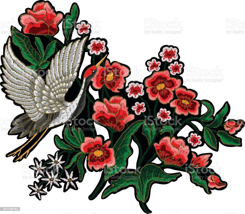 Japanese White Crane And Flowers Stock Vector Art 827238762 Istock