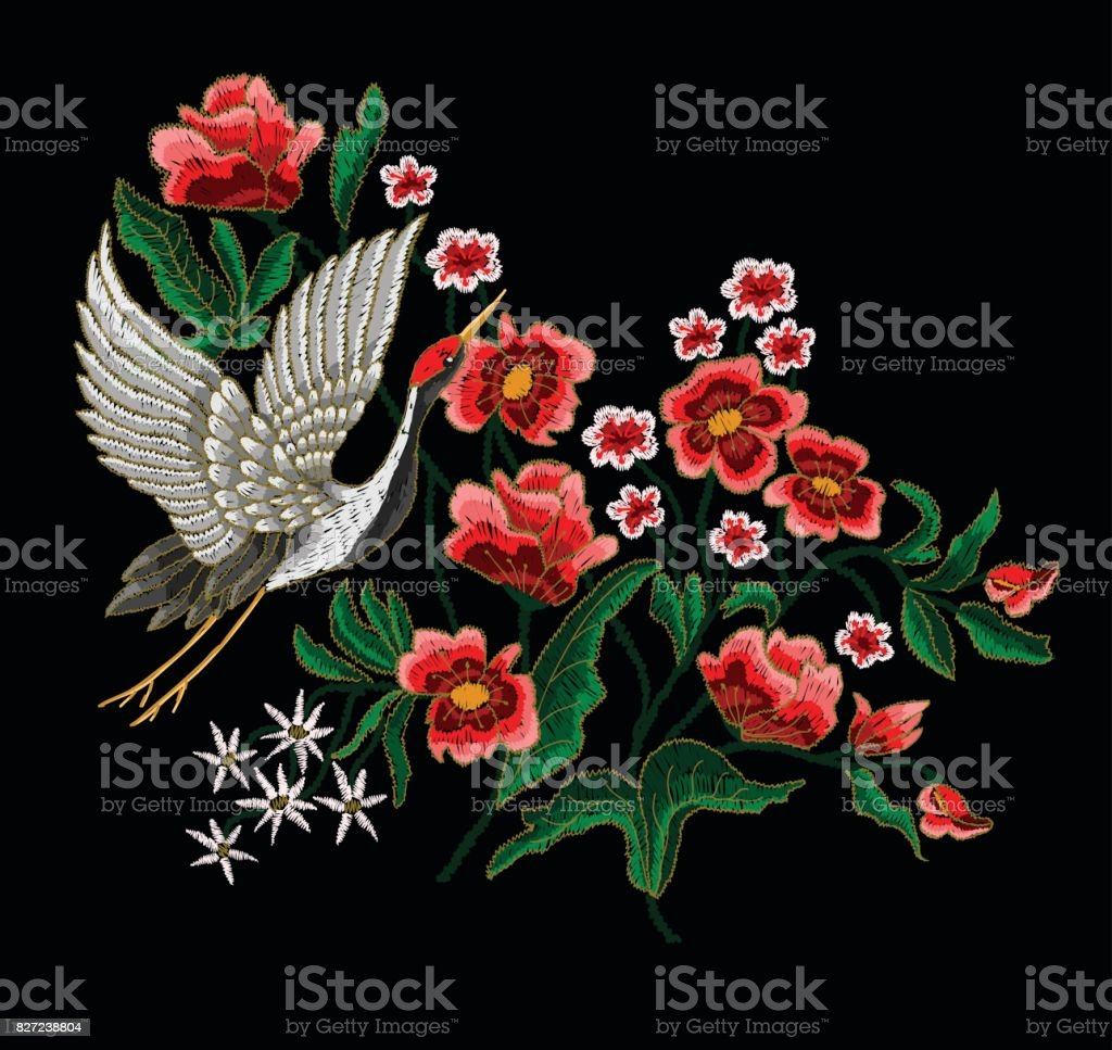 Japanese White Crane And Flowers Stock Vector Art 827238804 Istock