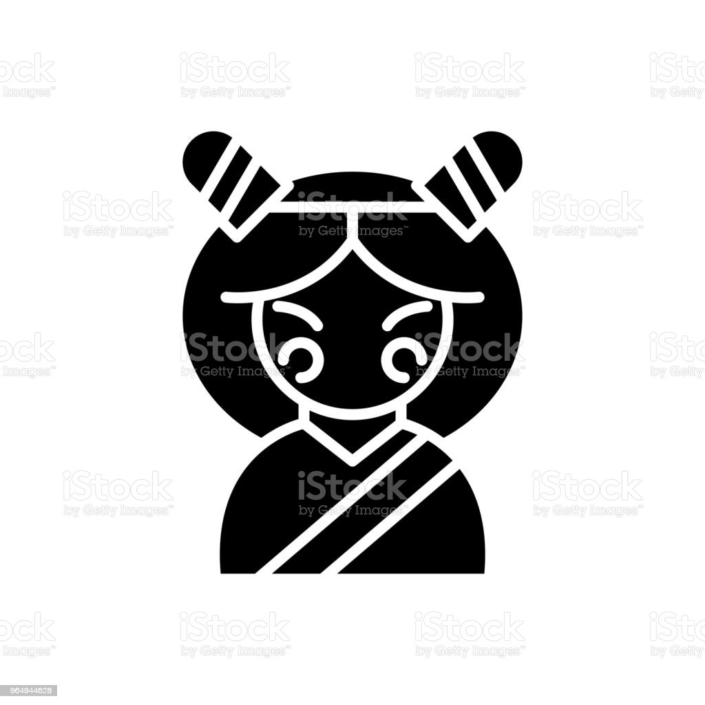 Japanese Woman Black Icon Concept Japanese Woman Flat Vector Symbol