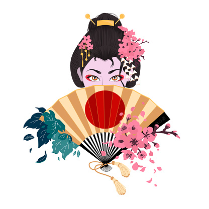 Japanese woman covers her face with a fan.Color vector flat cartoon illustration.