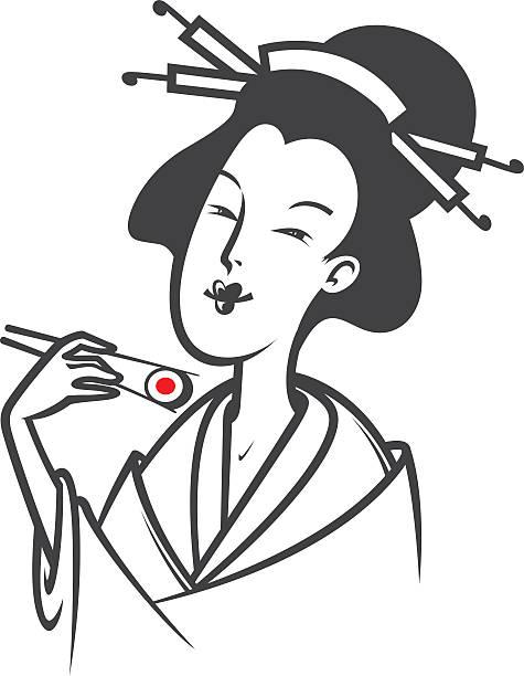 ilustrações de stock, clip art, desenhos animados e ícones de mulher de comida japonesa sushi - woman eating salmon