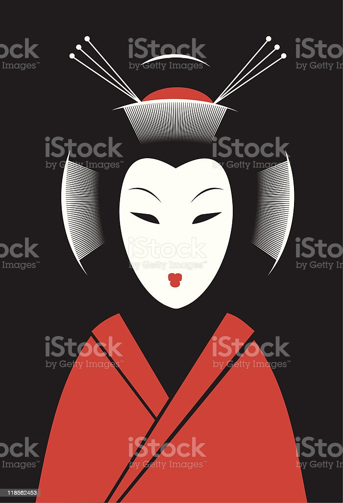 Japanese woman vector art illustration