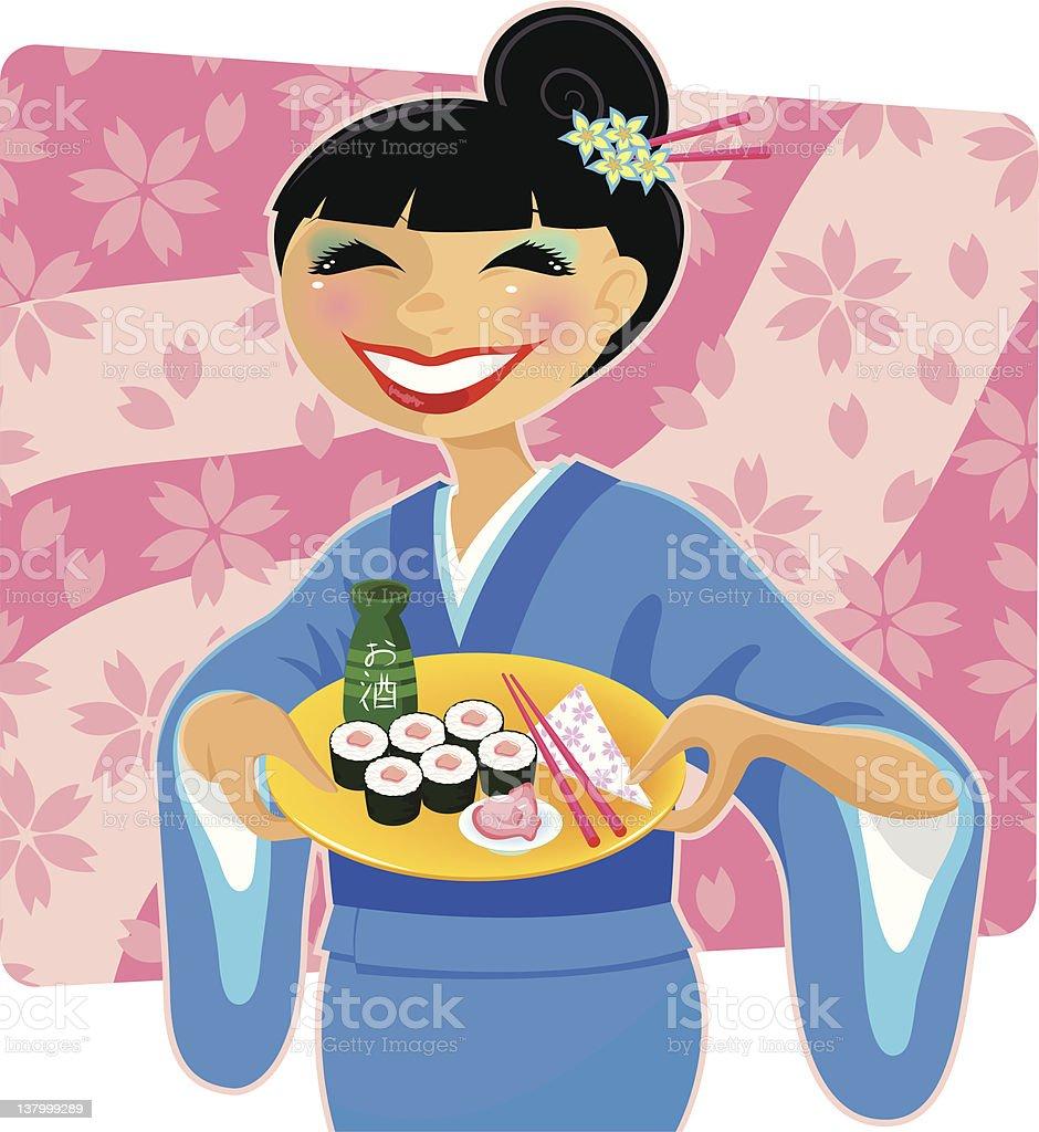 japanese woman royalty-free stock vector art