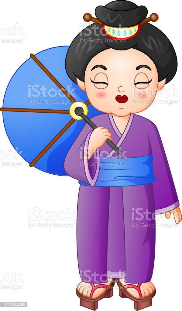 952387fbc Ilustración de Mujer Japonesa Con Kimono Tradicional Sosteniendo Un ...