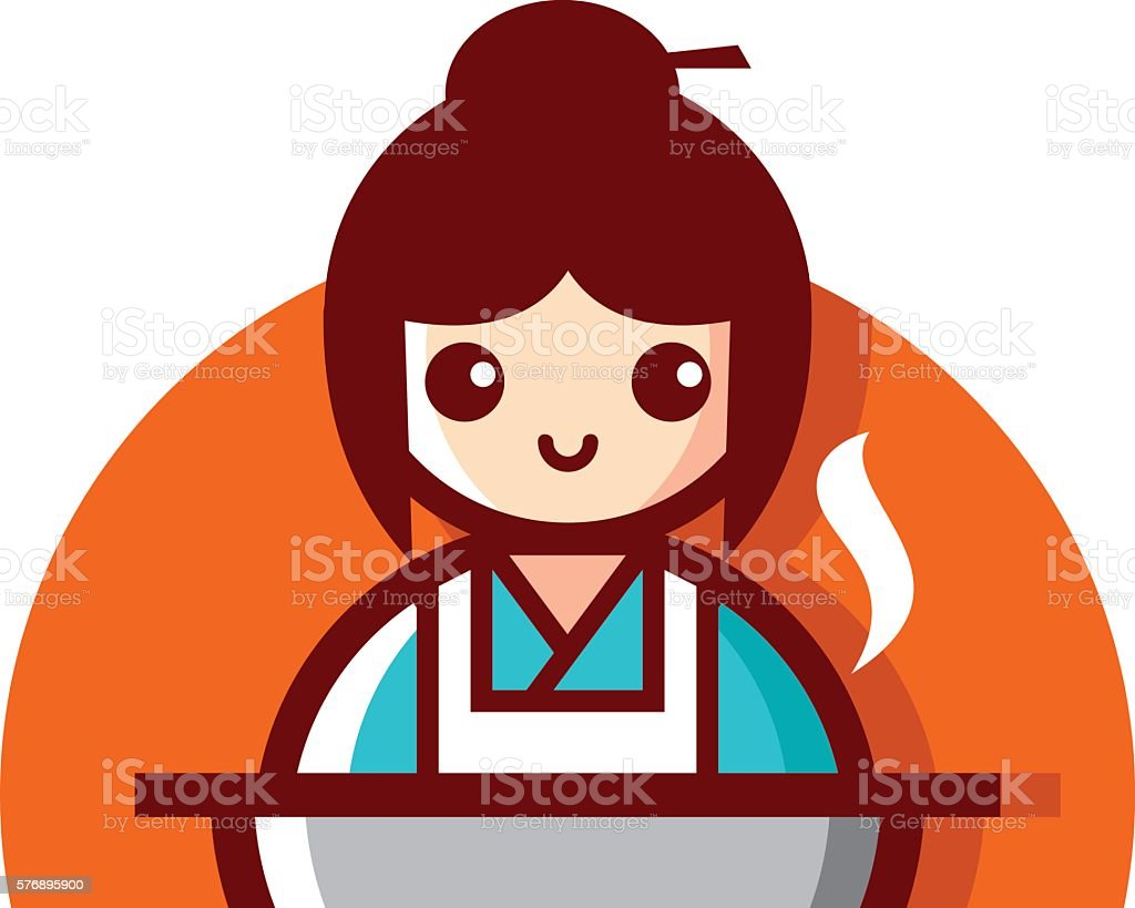 Japanese Women Cooking Cartoon Vector Illustration Stock Illustration -  Download Image Now