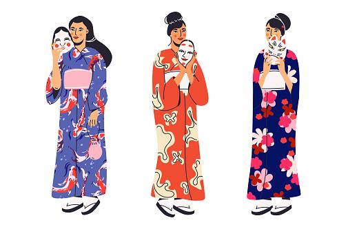 Japanese women in kimono with kabuki mask collection .