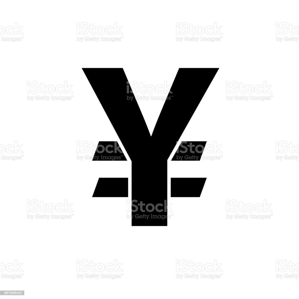 Japanese yen icon. Black, minimalist icon isolated on white background. vector art illustration