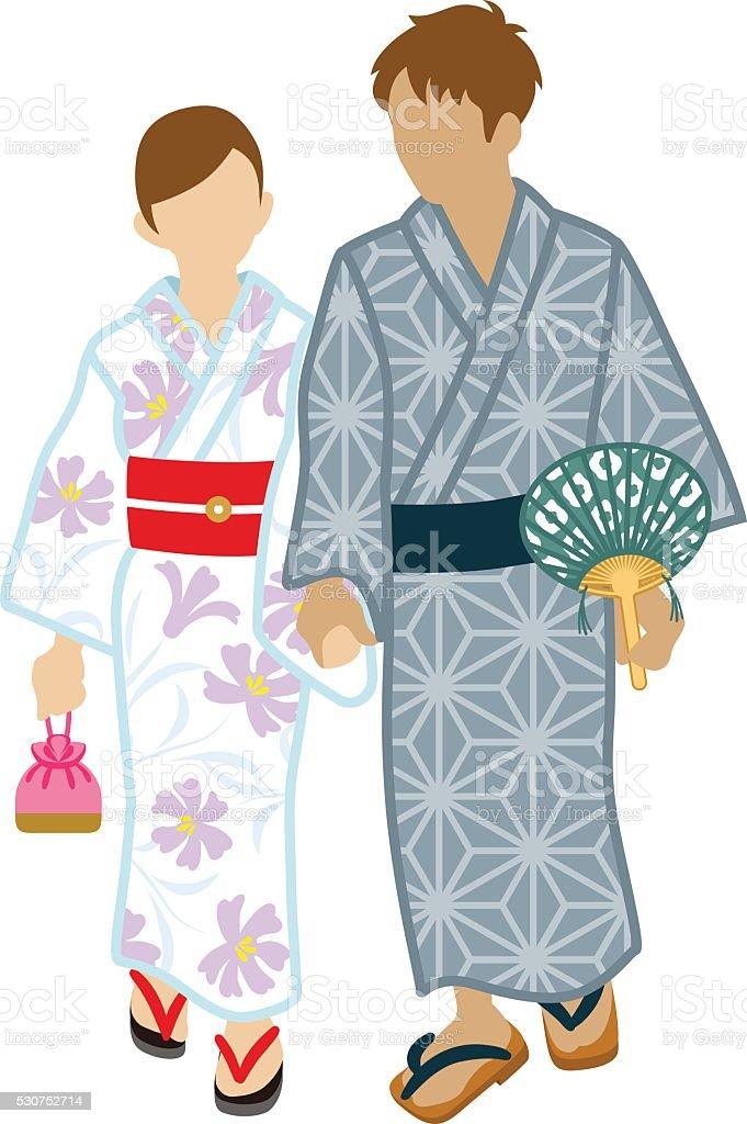 日本の浴衣カップル絶縁型 おだんごヘアのベクターアート素材や画像を