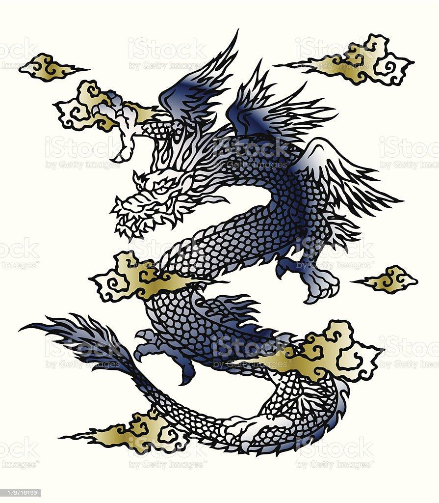 Japanesque dragon vector art illustration