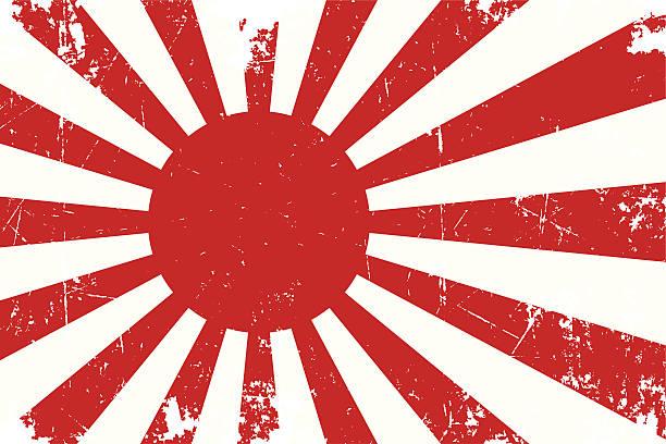 japans unserer emperial navy ensign flachbildfernseher mit struktur - flagge japan stock-grafiken, -clipart, -cartoons und -symbole