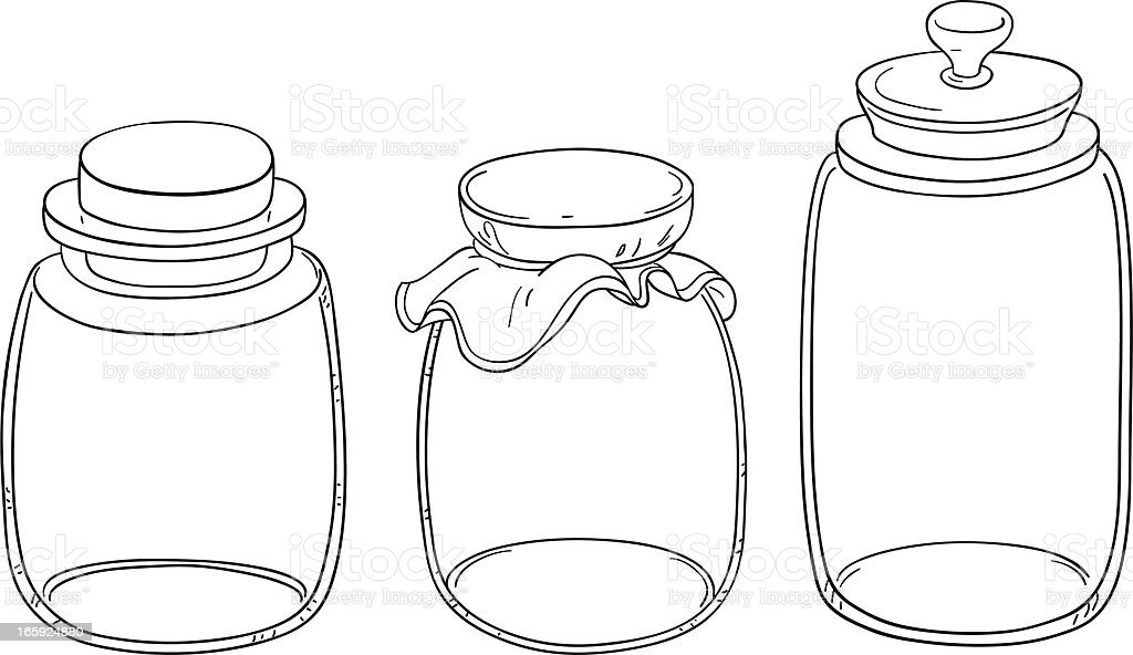 Line Drawing Jar : Jar collection in line art style stock vector more
