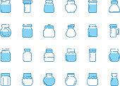 Jar line icons. Bottles for sweets jam marmalade strawberry with labels vector symbols collection. Illustration jar and glass bottle for fruit jam or milk