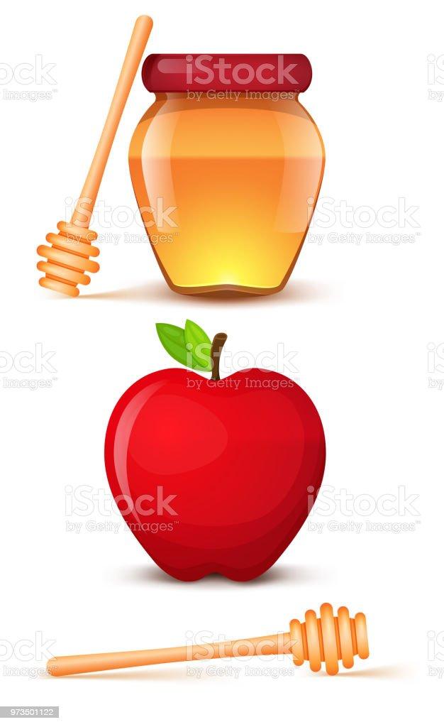 Ein Glas Honig. Roter Apfel. Löffel für Honig. Isolierte Symbole auf einem weißen Hintergrund. – Vektorgrafik