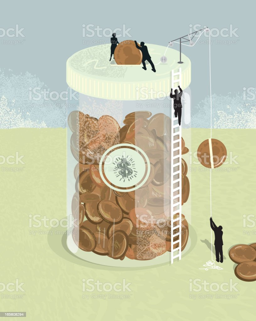 Jar of pennies financial concept with silhouette business people royalty-free stock vector art
