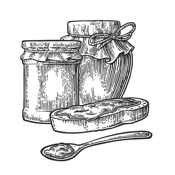 ilustrações de stock, clip art, desenhos animados e ícones de jar, spoon and slice of bread with jam. - jam jar