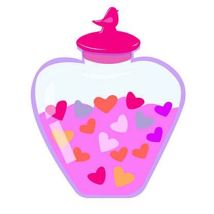 jar with a lid with hearts. bottle with hearts. romantic illustration for valentine's day on a white background. stock vector image.