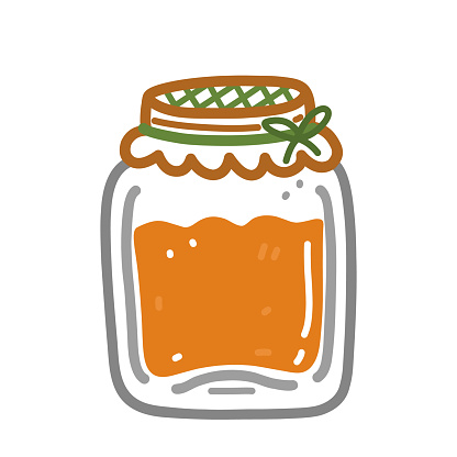Jar with apricot jam isolated on white background. Hand-drawn vector illustration in cartoon doodle style. Perfect for cards, logo, autumn and holiday designs, decorations.