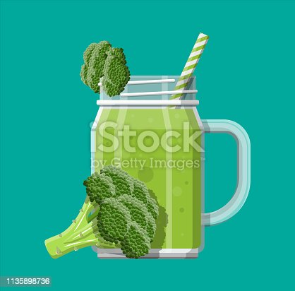 Jar with broccoli smoothie with striped straw. Glass for cocktails with handle. Broccoli fresh vegetable. Vector illustration in flat style