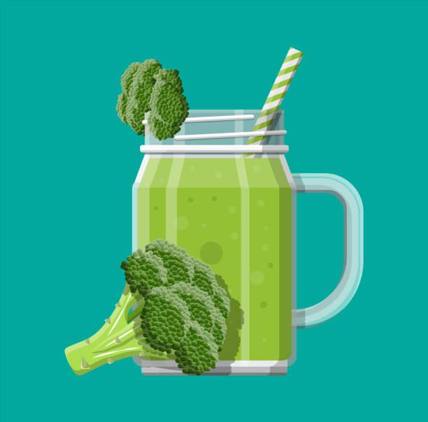 illustrazioni stock, clip art, cartoni animati e icone di tendenza di jar with broccoli smoothie with striped straw. - healthy green juice