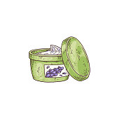 jar with lavender cosmetic cream or aromatic oil, hand drawn vector illustration isolated on white background. Emblem for natural cosmetic products with lavender.