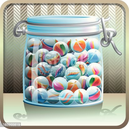 A glass jar full of marbles on a retro style background.