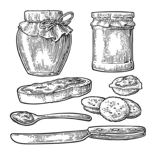 ilustrações de stock, clip art, desenhos animados e ícones de jar with packaging paper, spoon, knife and slice of bread with jam. - jam jar