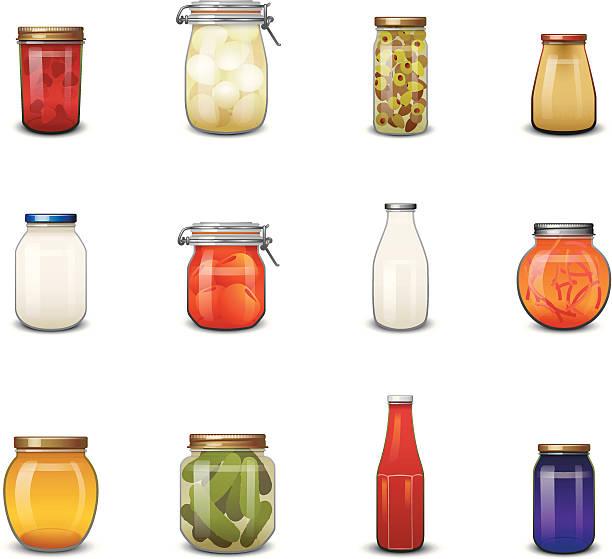ilustrações de stock, clip art, desenhos animados e ícones de jarred ícones de comida - jam jar