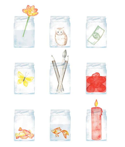 gläser und ihrem inhalt - fischglas stock-grafiken, -clipart, -cartoons und -symbole