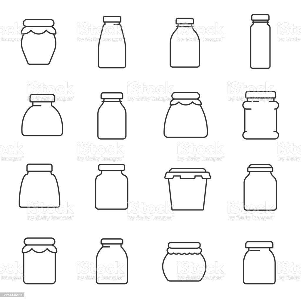 tarros, establezca los iconos de la línea. Movimiento editable - ilustración de arte vectorial