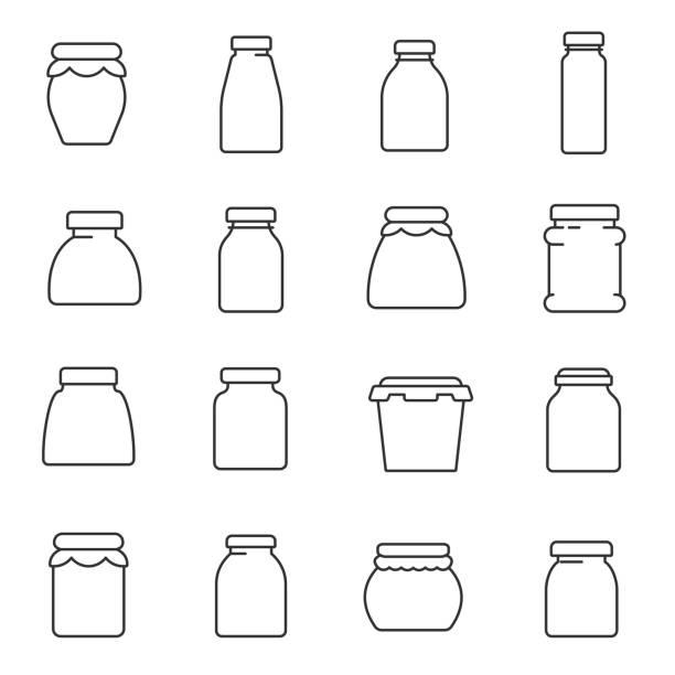ilustraciones, imágenes clip art, dibujos animados e iconos de stock de tarros, establezca los iconos de la línea. movimiento editable - comida casera