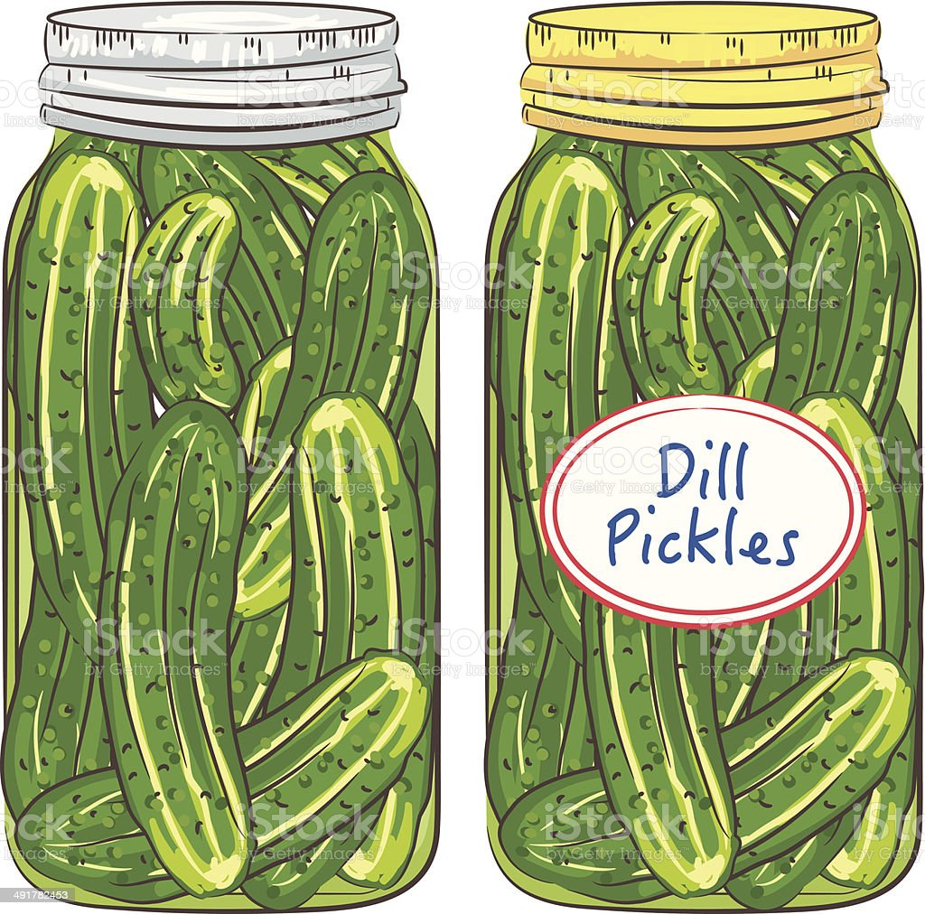 Jars Of Dill Pickles vector art illustration