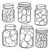 Hand drawn jars of pickles and  jam. Vector sketch illustration.