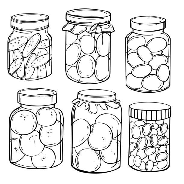 bildbanksillustrationer, clip art samt tecknat material och ikoner med burkar med pickles och sylt. vektorillustration. - koncept och teman