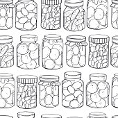 Hand drawn jars of pickles and  jam on white background. Vector  seamless pattern.