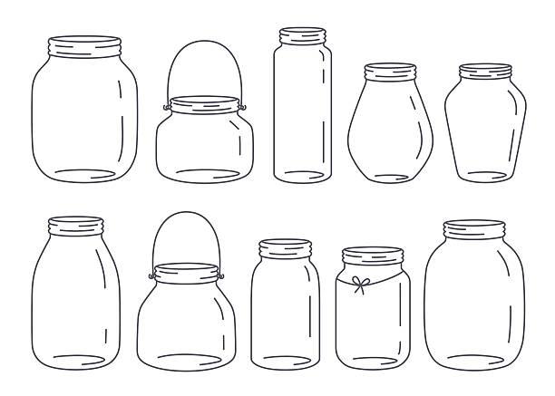 ilustrações de stock, clip art, desenhos animados e ícones de conjunto de jarros - jam jar