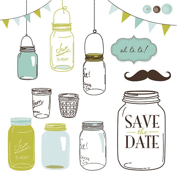 Jars vector art illustration