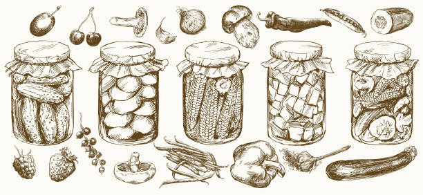 ilustrações de stock, clip art, desenhos animados e ícones de jars with pickled vegetables and fruits. - jam jar