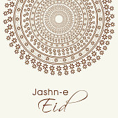 Jashn-e-Eid greeting card design decorated with beautiful floral.