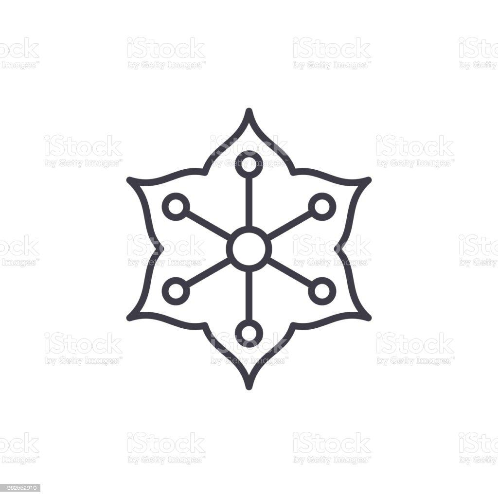 Jasmine line icon concept. Jasmine flat vector sign, symbol, illustration. - Royalty-free Aromatherapy stock vector