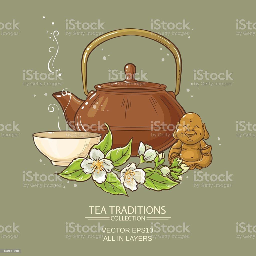jasmine tea vector illustration vector art illustration