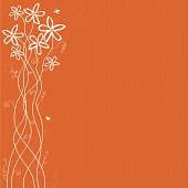 Orange/Terracotta background with white silhouette of a Jasmine plant with leaves and flying insects.