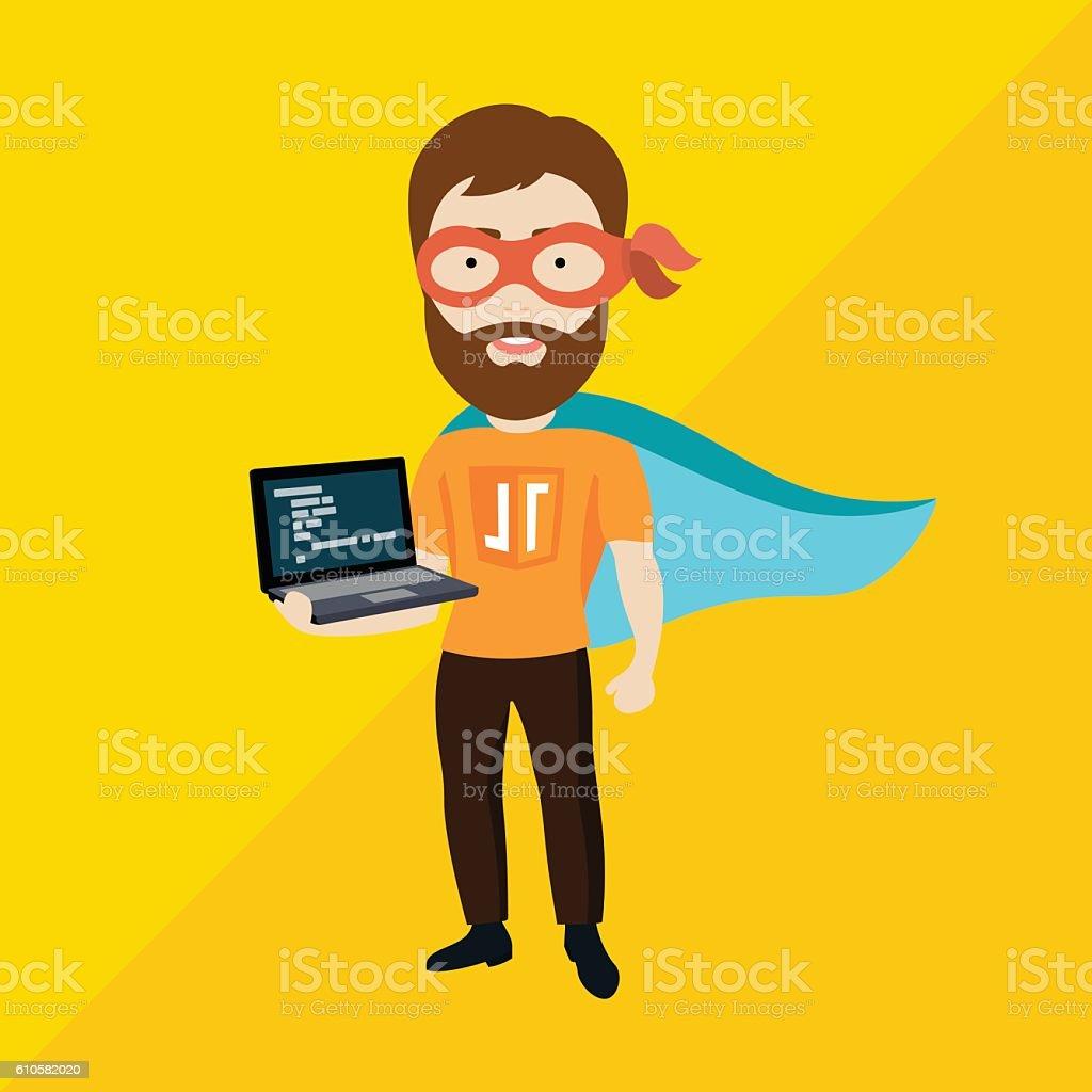Java Script Specialist as Superhero vector art illustration