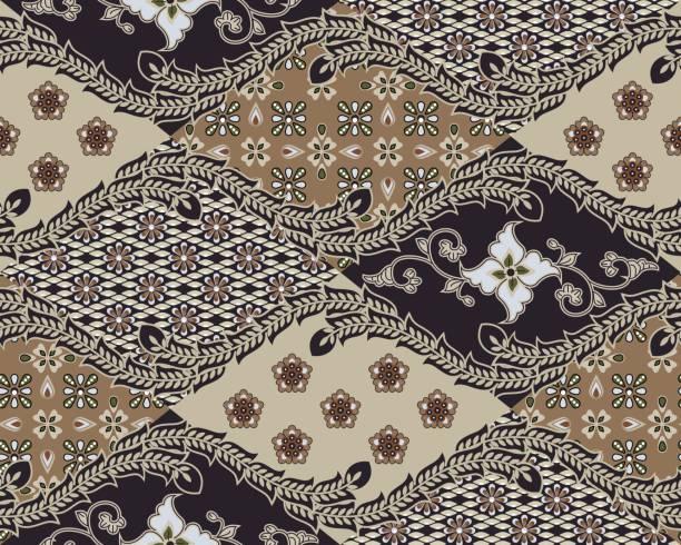 stockillustraties, clipart, cartoons en iconen met javaanse batik naadloze patroon - set b1 - batik
