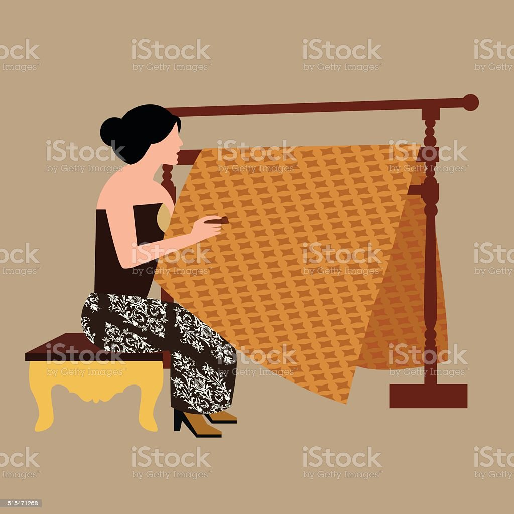 Javanese woman girl drawing create batikholding canting traditional indonesia clothes illustration